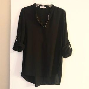 Stella Luce Black Zipper Long Sleeve Shirt